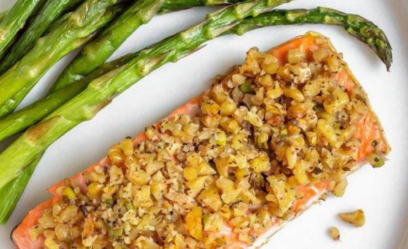 Walnut Crusted Salmon with Asparagus